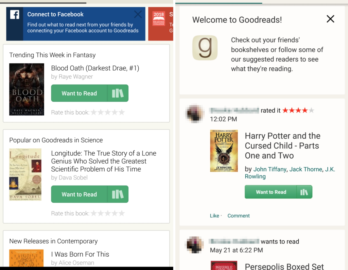 Current versus new version of Goodreads for Android app