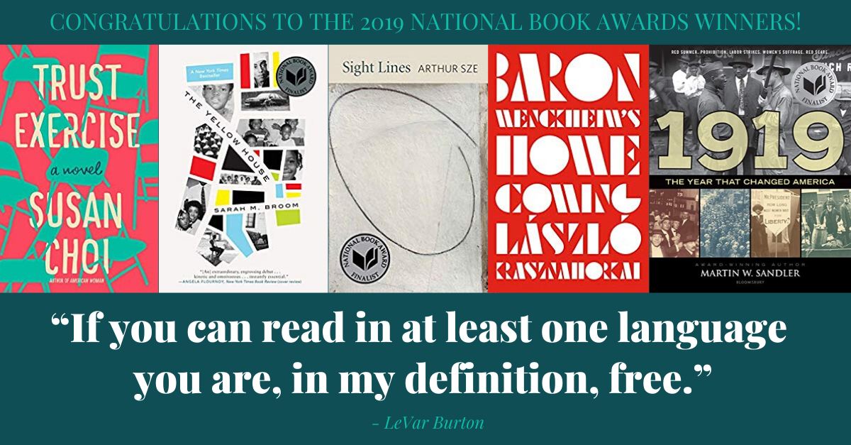 View post titled Congratulations to the 2019 National Book Award winners!