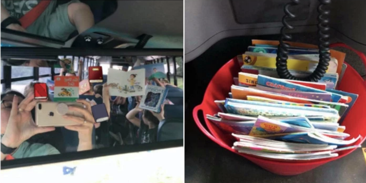 View post titled School bus driver calms her charges with a bucket of books